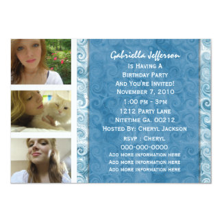 Añada sus imágenes: Invitación azul con playas del Invitación 11,4 X 15,8 Cm