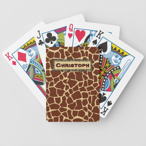 Añada sus naipes animales del modelo de la jirafa  baraja