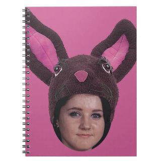Añada sus oídos del conejito del rosa de la foto libro de apuntes con espiral