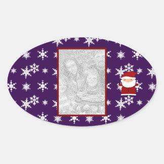 Añada sus propios copos de nieve de la púrpura de pegatina ovalada