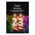 Añada un nombre, 23ro tarjeta de cumpleaños
