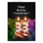 Añada un nombre, 33ro tarjeta de cumpleaños