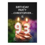 Añada un nombre, 93.a invitación de la fiesta de invitación 12,7 x 17,8 cm