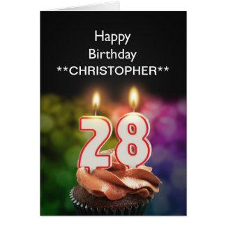 Añada un nombre velas de esta a las 28vas cuartas tarjeta de felicitación