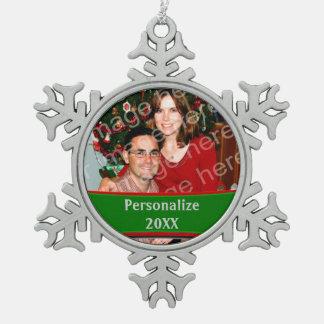 Añada un ornamento del personalizado del copo de adorno de peltre en forma de copo de nieve