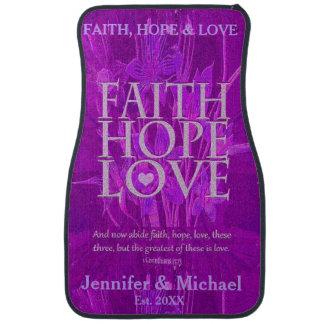 Añada una fe, una esperanza y un amor conocidos alfombrilla de auto