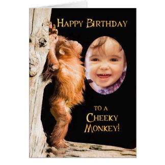 Añada una foto, feliz cumpleaños de un orang del b tarjeta de felicitación