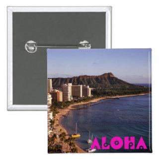 Añada una foto hawaiana de las vacaciones pin cuadrado