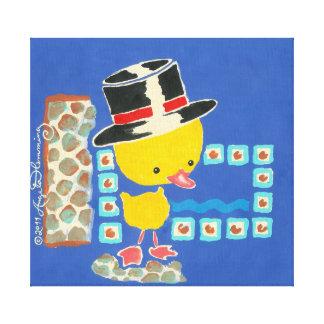 Anadón amarillo del muchacho con la pintura del so impresiones en lona
