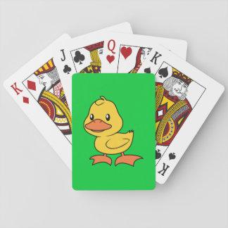 Anadón amarillo lindo feliz baraja de cartas