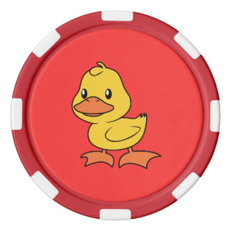 Anadón amarillo lindo feliz juego de fichas de póquer