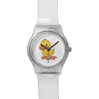 Anadón amarillo lindo feliz reloj