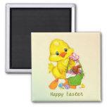 Anadón, huevos e imán de Pascua del conejito