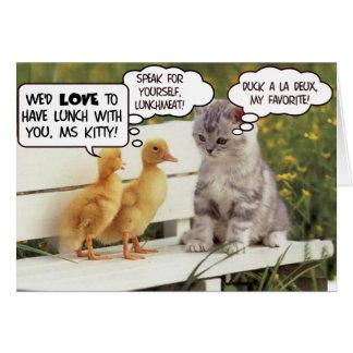 Anadones y gatito tarjeta de felicitación