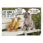 Anadones y gatito tarjetón