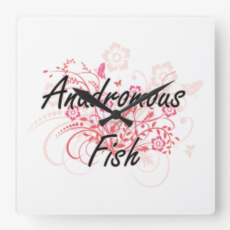Anadromous Fish with flowers background Square Wallclocks