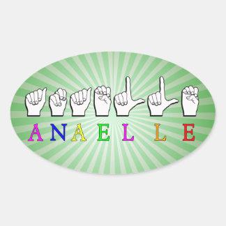 ANAELLE FINGERSPELLED ASL NAME SIGN OVAL STICKER