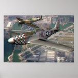 anáglifo 3D del Spitfire de P51 n sobre el campo d Poster