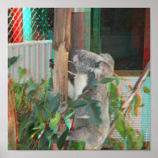 Anáglifo del árbol de goma de la koala que sube au impresiones
