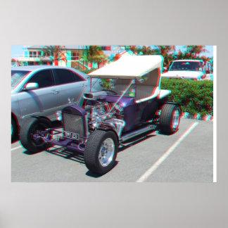 Anáglifo del coche de carreras 3D Poster