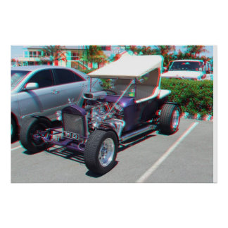 Anáglifo del coche de carreras 3D Póster