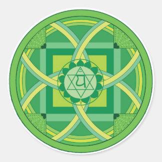 Anahata chakra Mandala Classic Round Sticker