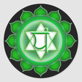 Anahata or Heart the 4th Chakra Classic Round Sticker