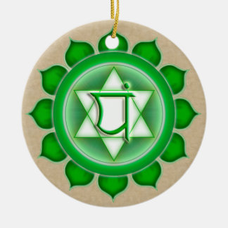 Anahata or Heart the 4th Chakra Double-Sided Ceramic Round Christmas Ornament