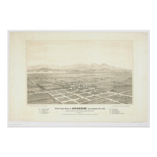 Anaheim, CA. Panoramic Map (0025A) - Unrestored Poster