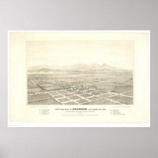 Anaheim, mapa panorámico del CA (0025A) - restaura Póster