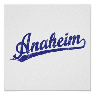 Anaheim script logo in blue poster