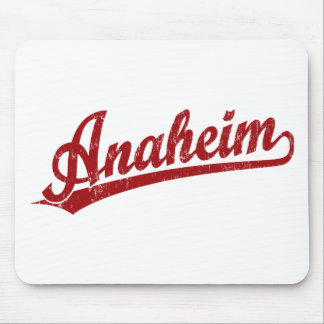 Anaheim script logo in red mouse pad