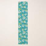 """Anaina Hou Hawaiian Tropical Floral Teal Scarf<br><div class=""""desc"""">Teal, Lime Green and cream colorway. Anaina Hou is a beautiful garden and park in Kilauea on the north shore of Kauai. It was created to foster a love of the land, celebrate the different cultures in Kauai, and honor their agricultural heritage. Our Asian inspired tropical floral print was inspired...</div>"""