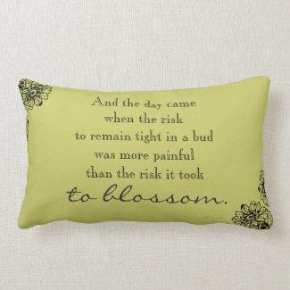 Anais Nin Risk Quote Throw Pillow