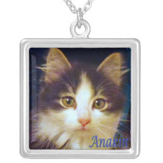 Anakin Two Legged Cat, Cute Kitten Square Necklace