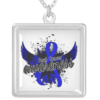Anal Cancer Awareness 16 Square Pendant Necklace