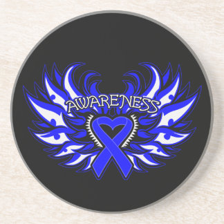Anal Cancer Awareness Heart Wings Coaster