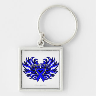 Anal Cancer Awareness Heart Wings.png Silver-Colored Square Keychain