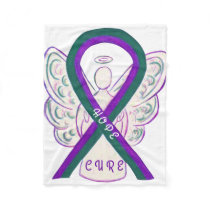 Anal Cancer Awareness Ribbon Angel Art Blankets