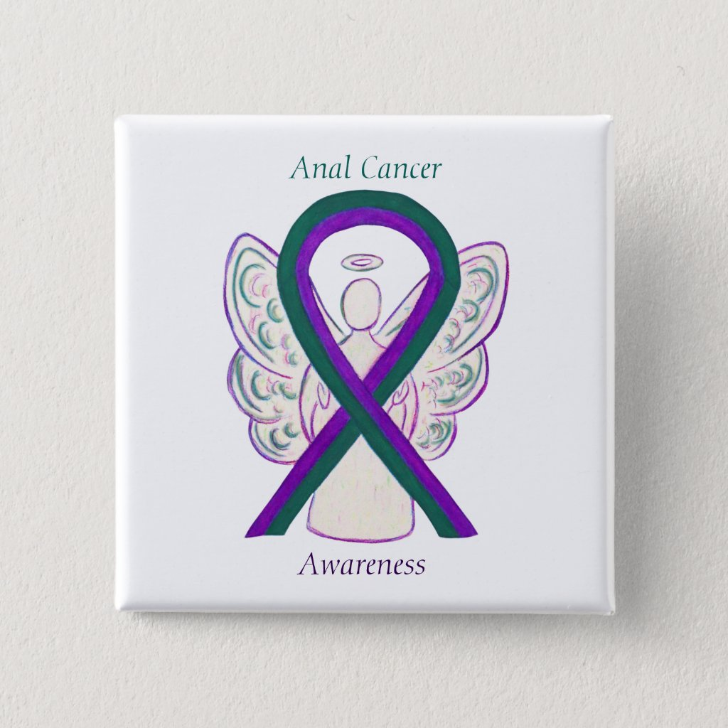 Anal Cancer Awareness Ribbon Angel Button Pins