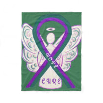 Anal Cancer Awareness Ribbon Angel Fleece Blankets