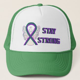 Anal Cancer Awareness Ribbon Angel Hat or Cap