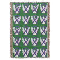 Anal Cancer Awareness Ribbon Angel Throw Blankets