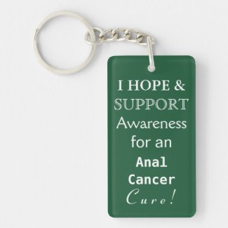 Anal Cancer Awareness Ribbon Art Custom Keychains