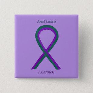 Anal Cancer Awareness Ribbon Custom Button Pins