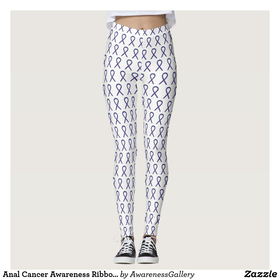 Anal Cancer Awareness Ribbon Custom Leggings