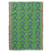 Anal Cancer Awareness Ribbon Custom Throw Blankets