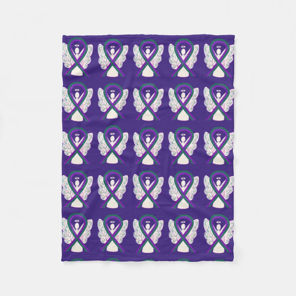 Anal Cancer Awareness Ribbon Fleece Angel Blankets