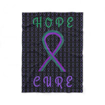 Anal Cancer Awareness Ribbon Fleece Chemo Blankets
