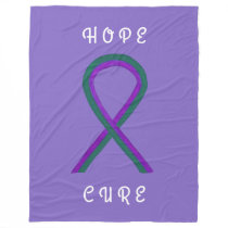 Anal Cancer Awareness Ribbon FleeceChemo Blankets